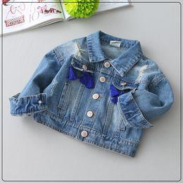 Wholesale Denim Jackets Toddler - 5p285 Spring Autumn girls outerwear Cowboy Jacket Denim Top Outfits Jean Coat wholesale kids toddler clothes