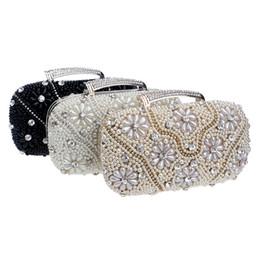 Wholesale Retail New Brand Fashion Handbags - Brand New Wedding Bridal Luxury Fashion Rhinestone Crystal Pearls Beading Shoulder Bag Evening Clutch Bag Wallet Purse Handbag Black Retail