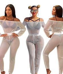 Wholesale White Jumpsuit Women Long Sleeve - hot sale women 2017 jumpsuits women long sleeve sexy club see through bodysuit black white hollow mesh bodycon off shoulder african jumpsuit