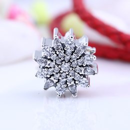 Wholesale Fit Ice - New Real 925 Sterling Silver Not Plated Ice Flower CZ Charms European Charms Beads Fit Pandora Bracelet DIY Jewelry