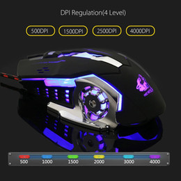 Wholesale Gaming Peripherals - Gaming Mause Computer Peripherals 6 Button Wired Mouse 4 Color Breathing Lamp Ajustable 4000DPI USB Mice V5 Mechanical Mouse Gamer