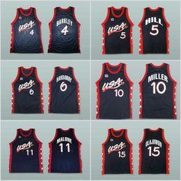 Wholesale Usa Basketball L - 1996 USA Dream Three Basketball Jerseys 4 Charles Barkley 15 Olajuwon 6 Penny Hardaway 11 Karl Malone 5 Grant Hill 10 Reggie Miller Blue