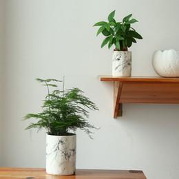 Wholesale Ceramic Flowerpots - Home decor flower pots ceramic vases marble texture decorative flower vases flowerpot planters HWD72
