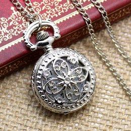 Wholesale Mens Locket Watch - Wholesale-New Mens Womens Steampunk Vintage Antique Silver Necklace Chain Round Quartz Pocket Watch Charm Locket Free Shipping P605