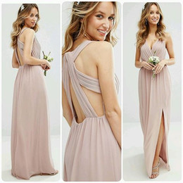 Wholesale Deep Purple Bridesmaids Dresses - Backless Sexy 2017 Bridesmaid Dresses Deep V-neck A-line Chiffon Maid Of Honor Dresses Cheap Elegant Formal Party Gowns