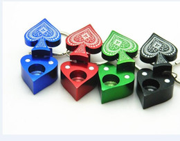 Wholesale Portable Poker - New style metal pipe Poker Peach heart pipe key chain portable smoking pipe aluminum alloy DHL free