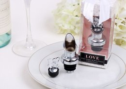 Wholesale Wine Pourer Stopper Favors - 150PCS LOT chrome Love wine bottle pourer stopper Wedding party gifts and favors Bridal shower gift present FREE SHIPPING