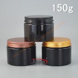 Wholesale Black Glass Cosmetic Jars - Cosmetic packaging 150g shiny black plastic bottle PET Cream jar 150ml Food pot with black gold bronze aluminum cap