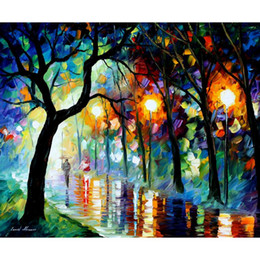 Wholesale Oil Painting Landscapes Dark - dark night hand painted palette knife oil painting reproduction Landscapes wall art