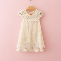 Wholesale Crochet Lace Dress For Girls - ivory lace dress for summer girl lace crochet princess dress lace hollow out embroidery girl dress