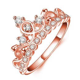 Wholesale Women Korean Rings - Hot Sale Korean Queen Rose Gold Crown Ring Women Zircon Cute Beautiful Wedding Party Jewelry Compatible With Pandora Element Wholesale