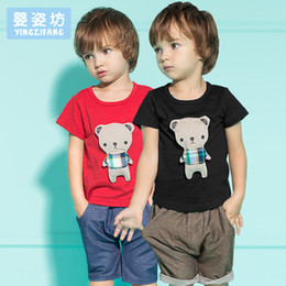 Wholesale Teddy Bears Shirt - Yingzifang New 2017 Summer Boys Girls Baby Clothing Sets 2 Pieces Kids Pants + Pullover Top Shirts Boys Girls Teddy Bear Kids Clothes