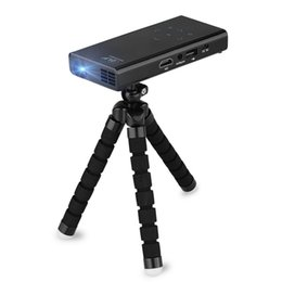 Wholesale Pocket Tripod - Wholesale-Popular E06 Mini Pocket DLP Projector Support 1080P Home Cinema for iPhone Andorid  iPad Laptop Mobile Proyector with a Tripod!