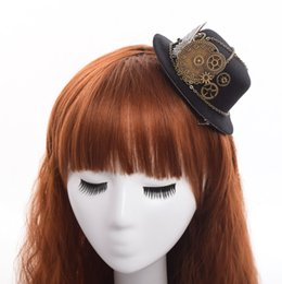 Wholesale Mini Hair Hats Clips - 1pc Lolita Hairclip Steampunk Mini Top Hat Goth Geer Wing Chain design Hair Clip Fast Shipment