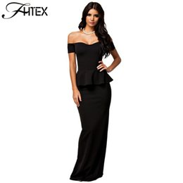 Wholesale Peplum Xxl - 2016 New Women Dress 3 Colors Sexy Peplum Maxi Dress with Drop Shoulder Long Dress Plus Size M L XL XXL 17409