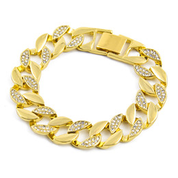 18k gold gefüllte kubanische links Rabatt Hip Hop Schmuck Herren Iced Out Armbänder Luxus Simulierte Halb Diamant Armreifen Gold gefüllt Miami Cuban Link Kette für Herren Modeschmuck