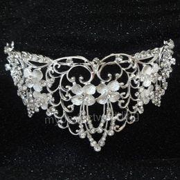Gorgeous floral cristal nupcial corona Rhinestone de cristal grande de la boda accesorio para el pelo hecho a mano ocasión especial concurso Tiaras envío gratis nuevo desde fabricantes