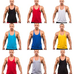 Wholesale Mens Gym Vest Wholesale - Mens Vest Cotton Stringer Bodybuilding Equipment Fitness Gym Tank Top shirt Solid Singlet Y Back Sport clothes Vest 7 Colors Cotton Vest