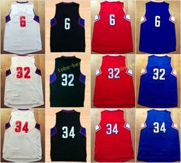 Wholesale Uniform Name - 2017 New 32 Blake Griffin Jersey Sport Shirt Uniform 6 DeAndre 34 Paul Pierce New Rev 30 Team Color Red Blue Black White Stitched With Name
