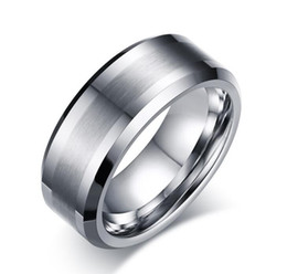 Wholesale Tungsten Wedding Bands For Men - Free Shipping 8mm Wholesales Brushed Center Bevel edges Tungsten Carbide Band for Men Fashion tungsten jewelry ring US size 4 to 17 big size