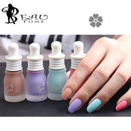 Wholesale Frosting Decorations - Wholesale- Beautome 4 Bottles Set Feed Bottle Candy Color Frosted Matte Nail Polish Tasteless Nail Polish Beauty Nail Art Decoration Tools