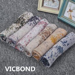 Wholesale muslim headbands - New autumn winter cotton oil color painting woman scarf national sunscreen warm shawl pashmina fashion Muslim hijab 10pcs lot
