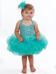 Wholesale Fit Ball Mini - Turq Baby Pageant Dresses 2017 Halter Neck and Sparkling Crystals Fitted Bodice & Short Ruffled Skirt Little Girls Cupcake Pageant Dress