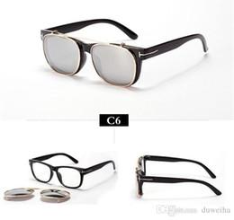 Wholesale Mirrored Clip Sunglasses - HOT SALE-Cool Clip On Sunglasses Men 2016 New Fashion Vintage Mirror Glasses Women Brand Designer Steampunk Gafas de sol Points
