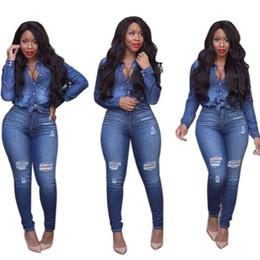 Wholesale Jeans Long Shirts Women - 2017 Fashion Bodycon two piece sets Spring Sexy Women Turn-down Demin Shirts+Long Jeans pants Free Shipping