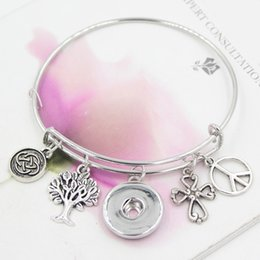 Wholesale Wholesale Peace Jewelry - New Fashion Interchangeable Tree of Life Cross Peace Sign Celtic Knot Inspired Wire Adjustable Expandable Snap Bangles Bracelets Jewelry
