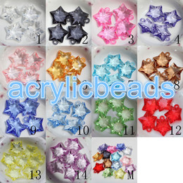 Wholesale Clear Faceted Charms - 23*25mm Charm Plastic Transparent Faceted Star Pendants Clear Acrylic Star Beads 3MM Top Hole 30pcs for