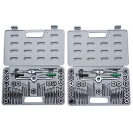Wholesale Tool Metric Tap Die - 80 Pieces Tap Hex Die Tool Kit 40pcs SAE and 40pcs Metric w  Cases