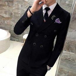 Wholesale Thin Lapel Piece Suits - Male solid color thin double breasted blazer suit 3 piece groom set Wedding Suits For Men Suits Party Dress Dinner Prom Suit