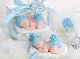 2019 bougies sans flammes en ivoire Nouveau 3D Sleeping Baby bougies flameless bougies bébé fête d'anniversaire Baby Shower Favors avec boîte-cadeau 10pcs / lot