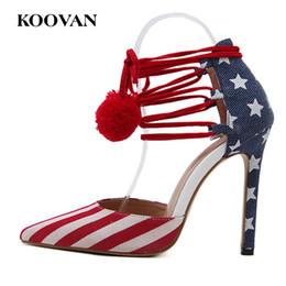 Wholesale High Heels Flag Pump - Dress Shoe Women Pump Fashion National Flag 11 Cm High Heel Shoes Koovan Hot Sale 2017 New European Show Shoes W295