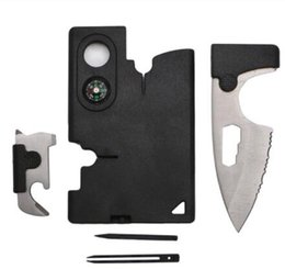 Wholesale Free Camping Gear - EDC Gear Fashion New 10 in 1 Multi Purpose Pocket Credit Card Survival Knife Outdoor Hunting Camping Tools Free Shipping, Wholesale