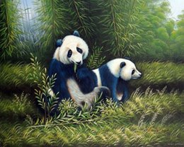 Wholesale Modern Abstract Oil Paintings Bamboo - Framed Panda Bear Couple Eating Bamboo Shoots In Forest,Genuine Hand Painted Modern Animal Art oil Painting Museum Quality Multi sizes J061