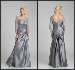 Wholesale Cheap Bling Shirts - Mother Of The Groom Dresses Backless Sequin Beading Iulsion Long Sleeve Bateau Neck Floor Length Cheap Evening Gown Bling Prom Wonderful