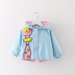 Wholesale Denim Trench - New Spring Autumn Kids Girls Coats Clothing 2017 Baby Girls Fashion Cartoon Dots Hooded Trench Coat 6-36 months !