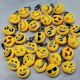 Wholesale Trendy Yellow Handbags - QQ emoji Toys key chain 6cm emoticons smiley little pendant emotion Facial expression Key buckle yellow QQ plush pants handbag pendant