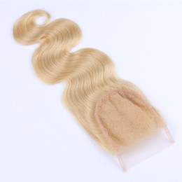 Wholesale Bulk Hair 613 - High Quality #613 Color Hair Body Wave Human Virgin Remy Hair Extensions Natural Color Brazilian Indian Peruvian 4*4 Closure Free Shipping