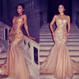 Wholesale Scoop Back Sequin Dress - Sexy Mermaid Evening Dresses Sheer Neck Crystal Beaded Tulle Gold Nude See Through Backless Celebrity Dresses 2017 Formal Evening Gowns