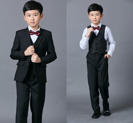 Wholesale Kids Suits For Weddings - Cheap Boys Suits For Weddings Black Boy Suit Five Piece Suit Formal Party Bow Tie Pants Vest Shirt Kids Wedding Suits Free Shipping In Stock