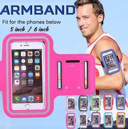 Wholesale Iphone 5s Gym - Sport Gym Running Armband Protector Belt Soft Running Bag Sport Arm Band Case For iPhone 8 7 Plus 6 6S 5 5S Samsung S7 edge S6 Note 5 100pcs