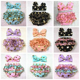 Wholesale Underwear 24 - Girls Bloomers Headbands Set Baby Children Gold Polka Dot Hairband Ruffled Kids Shorts Cotton Underwear Girl Boutique Diaper Covers F441