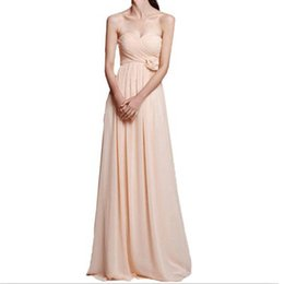 Wholesale Bridemaid Flowers - 2017 Sweetheart Bridemaid Gowns A Line Floor Length Pleats Long Chiffon Bridesmaid Dresses with Flowers Maid of Honor Dresses
