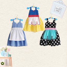 Wholesale Baby Cinderella Dresses - Girl Ins princess sling dresses 3 Style baby girls Snow White Cinderella sleeveless dot dress Kids summer cartoon Children Cosplay clothes