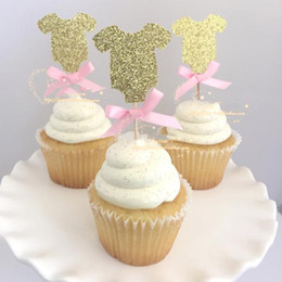Wholesale Baby Showers Decorations - Wholesale- Gold baby clothes cupcake topper picks for kids birthday party favors Decoration baby shower supplies