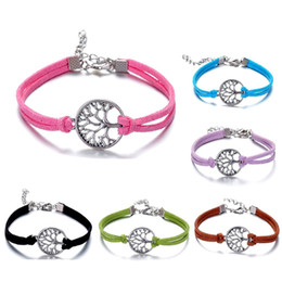 Wholesale Simple Heart Bangle - Vintage Silver Multicolor Leather Chain Wish Hope Tree Charm Bracelet For Women Girls Simple Friendship Bracelets & Bangles Lots Wholesale
