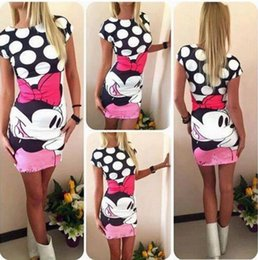 Wholesale Cheap Shipping Bodycon Dresses - Hot Sale Mickey Mouse Printed Lady Dresses O Neck Cap Sleeves Sheath Sexy Casual Dress Cheap Free Shipping S--XL